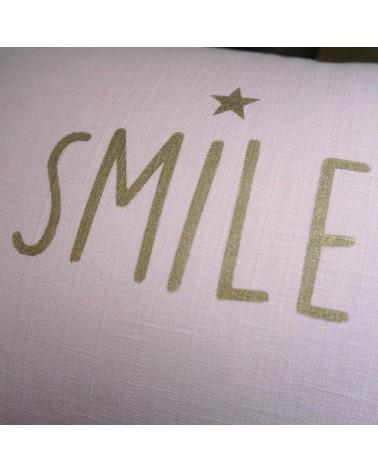 coussin lin rose mot SMILE
