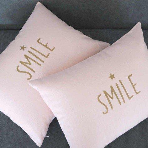 Coussin smile en lin rose 30x40cm