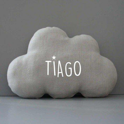 coussin nuage personnalisé en lin gris, décoration chambre enfant