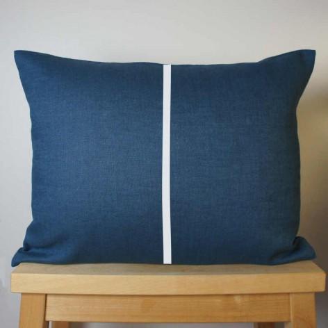 Coussin lin bleu rayure blanche