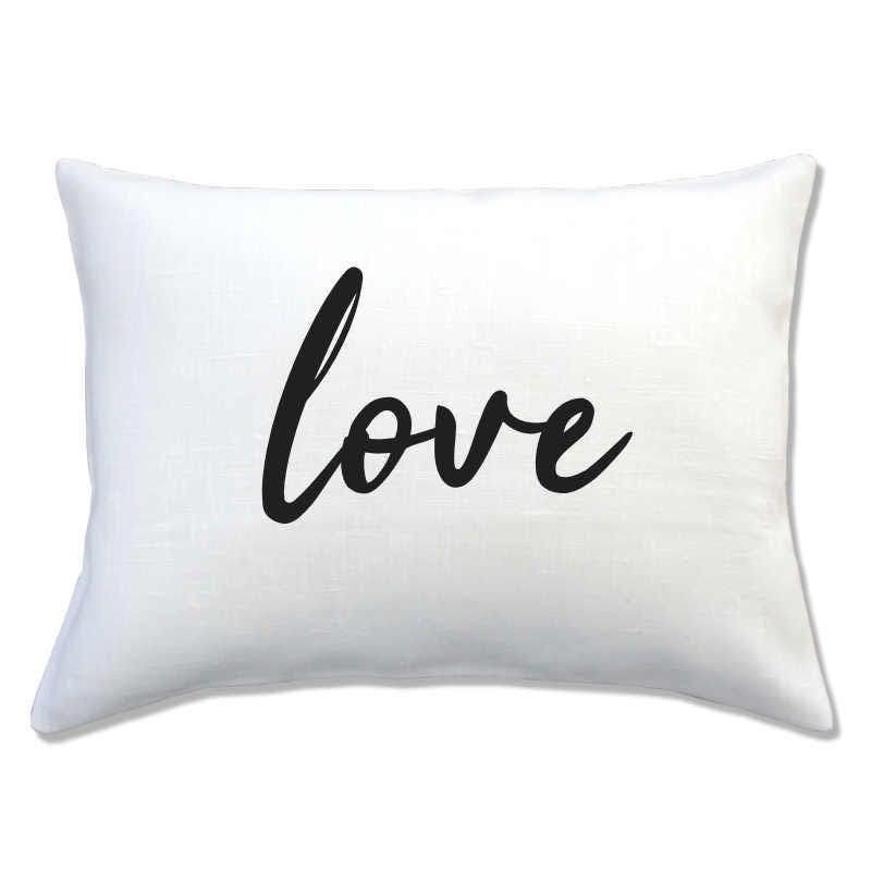 coussin lin inscription LOVE