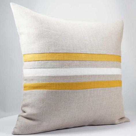 coussin lin décoratif rayures moutarde 40x40 cm