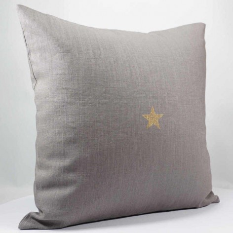 Housse de coussin 40x40 cm en lin avec mini étoile