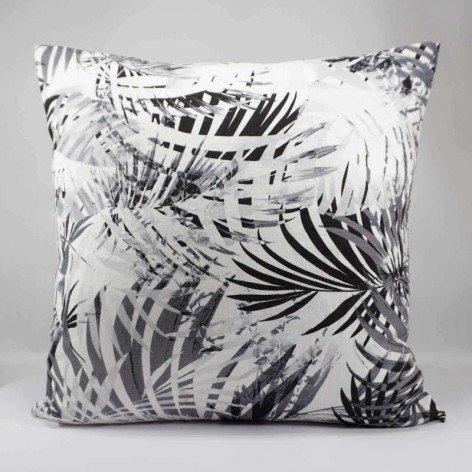 coussin décoratif en lin - motif tropical - feuille palmier - 40x40 cm
