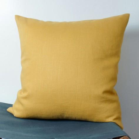 Housse de coussin en lin jaune moutarde 40x40cm