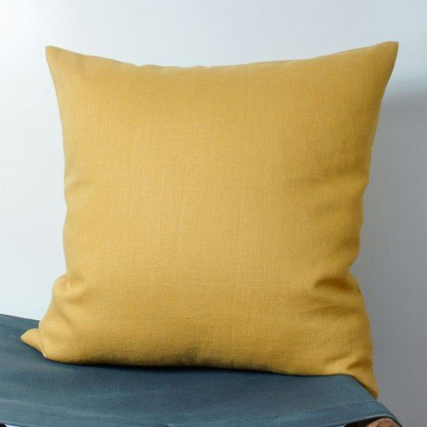 coussin lin couleur moutarde