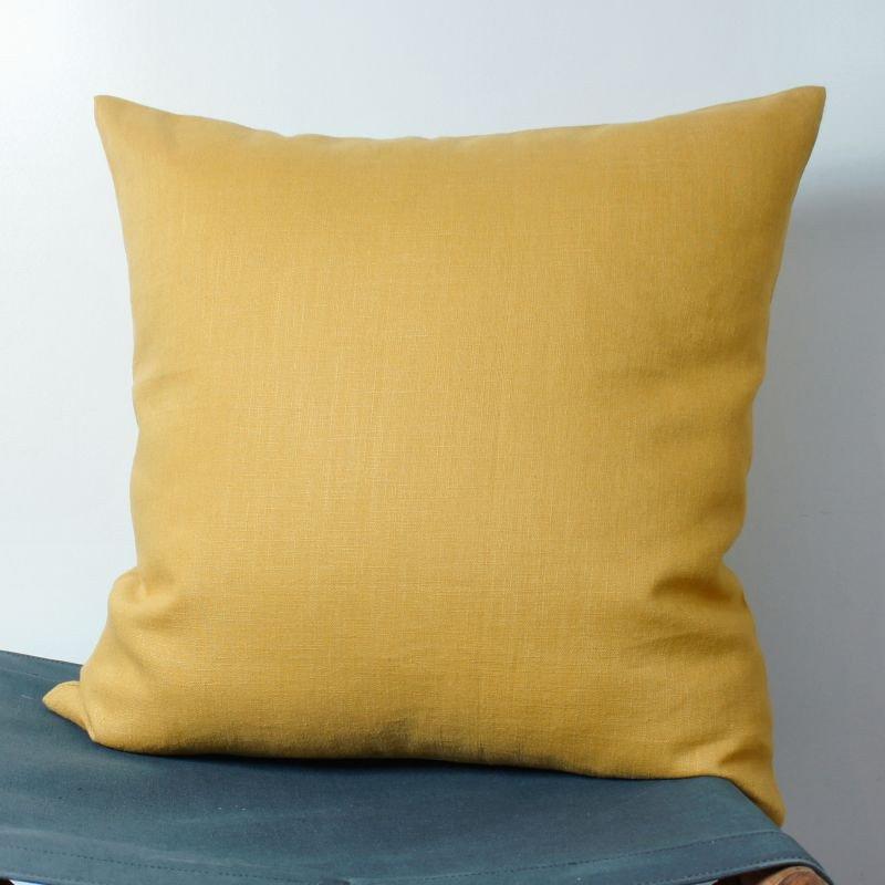housse coussin lin jaune moutarde 40x40 cm