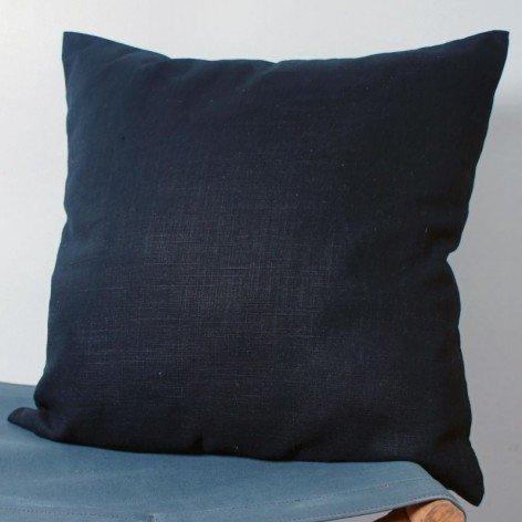 Housse de coussin en lin noir 40x40cm