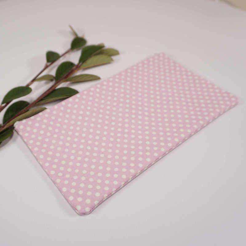 pochette tissu rose pois blancs
