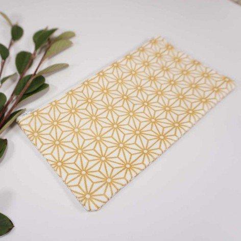 Trousse maquillage tissu motif japonais doré