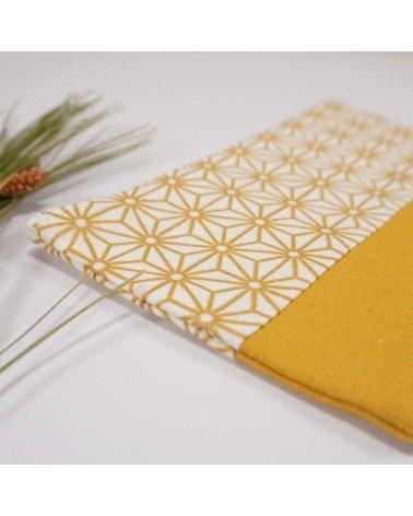 Pochette plate motif japonais coton et lin