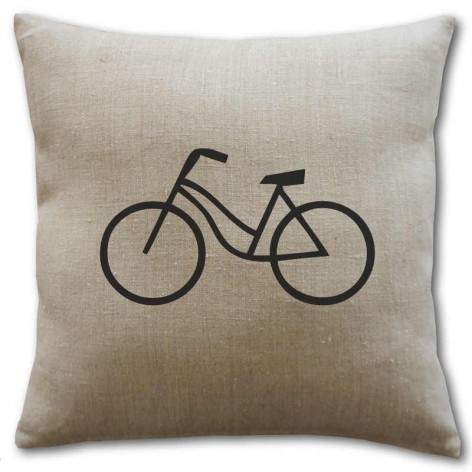 Housse de coussin en lin motif vélo