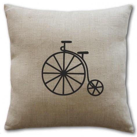 Housse de coussin en lin motif bicyclette