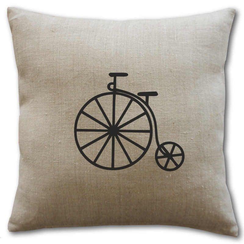 Housse coussin lin motif bicyclette