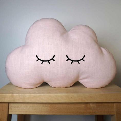 Coussin nuage aux yeux fermés rose