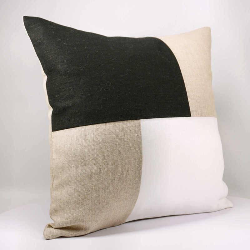Housse de coussin lin 40x40 cm design graphique noir et blanc