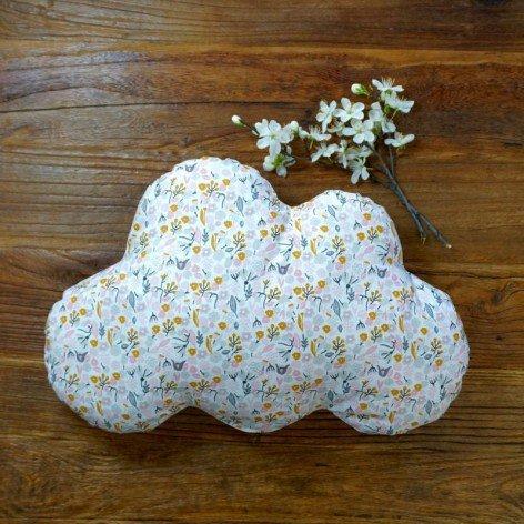 Coussin nuage enfant - motif fleurs