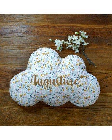 Coussin nuage personnalisé - motif fleurs