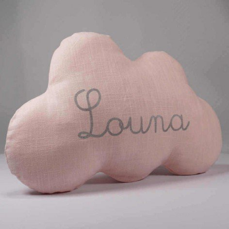 Coussin nuage personnalisé en lin rose et prénom argent
