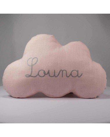 Coussin nuage prénom personnalisé lin rose prénom argent