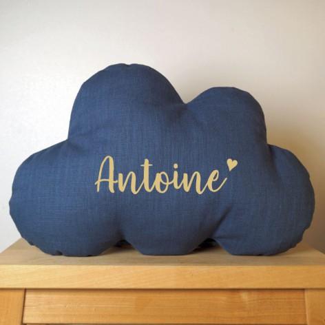 cadeau personnalisable bébé - coussin nuage prénom et coeur