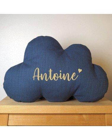 Coussin nuage prénom et coeur