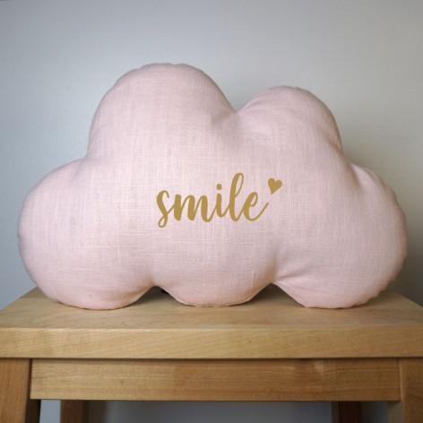 Coussin nuage Smile en lin rose