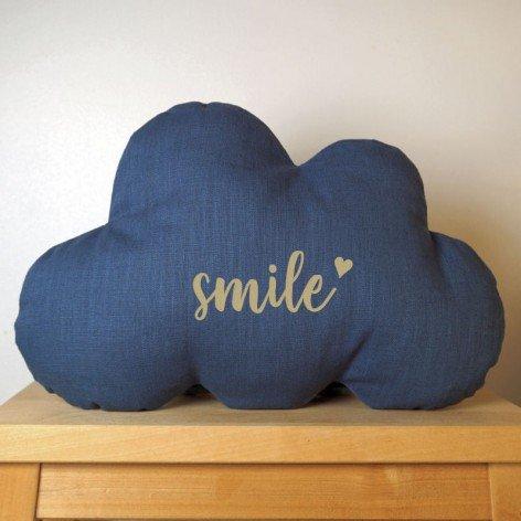 Coussin nuage Smile en lin bleu