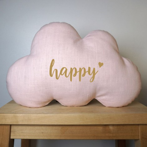 Coussin nuage Happy en lin rose chambre fille