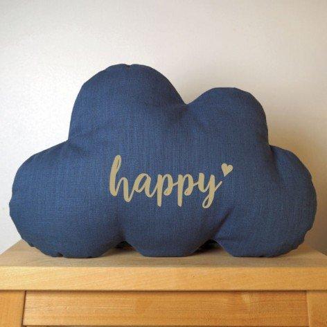 Coussin chambre bébé garçon, nuage Happy en lin bleu