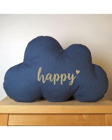 Coussin nuage Happy en lin bleu