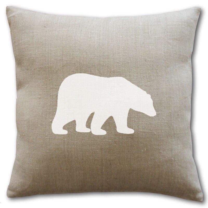 Housse de coussin en lin ours blanc polaire