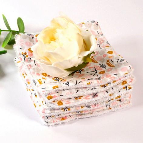 carrés démaquillants lavables bambou, lingette lavable, motif fleurs