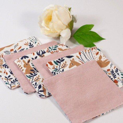 Lingettes lavables motif forêt