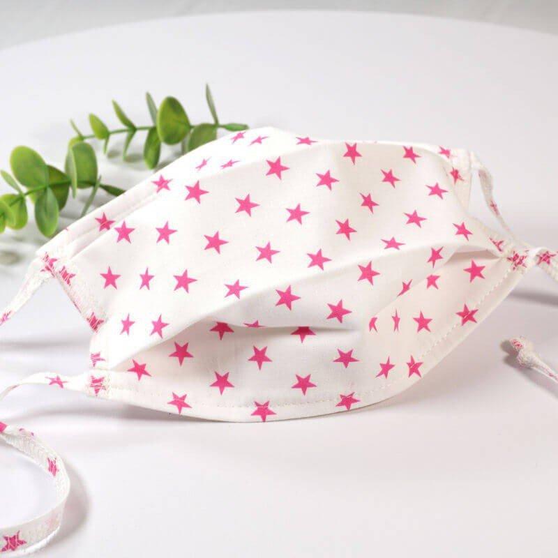 Masque de protection lavable, masque barrière 2 épaisseurs AFNOR, coton étoiles