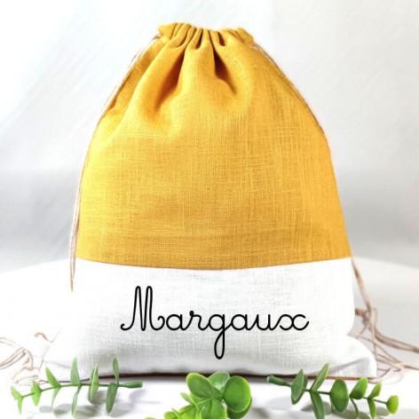 sac à dos maternelle personnalisé en lin moutarde