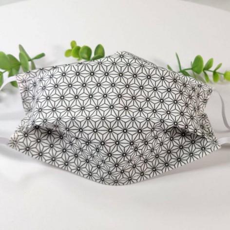 Masque barrière lavable, 2 épaisseurs AFNOR, coton géométrique