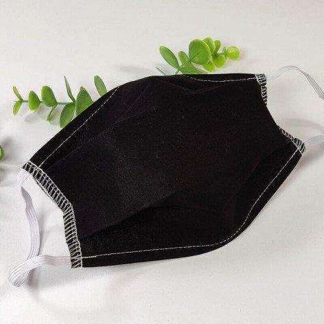 Masque barrière lavable, 2 épaisseurs AFNOR, coton noir