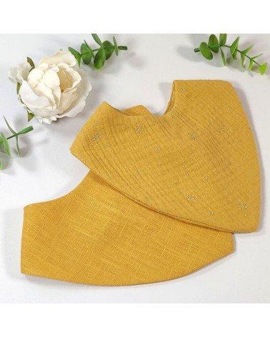 Duo de bavoirs bandanas jaune moutarde