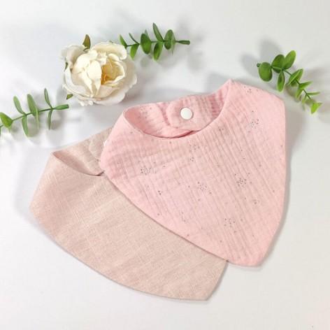 Duo de bavoirs bandana rose pâle