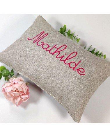 coussin sieste ecole maternelle lin naturel prénom rose fuchsia