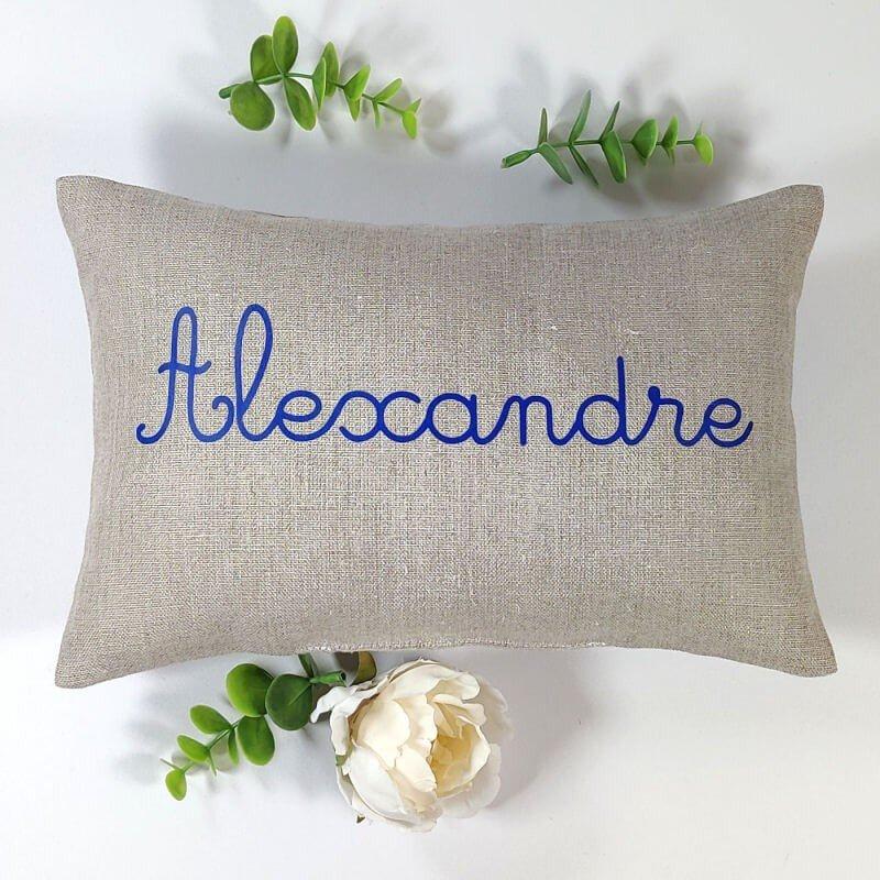 coussin sieste ecole maternelle lin naturel prénom bleu marine