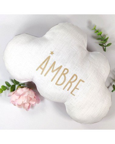 Coussin nuage personnalisé prénom étoile, cadeau de naissance