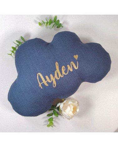 cadeau naissance personnalisable bébé - coussin nuage prénom et coeur