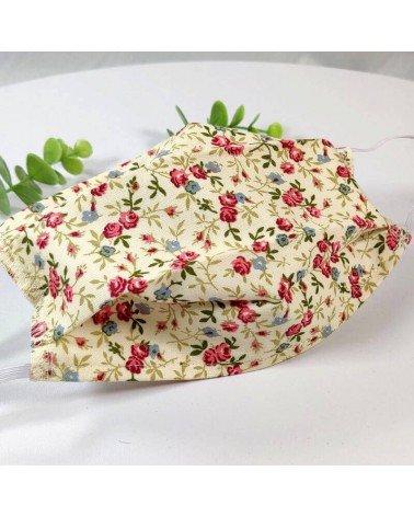 Masque barrière lavable, 2 épaisseurs AFNOR, coton fleuri