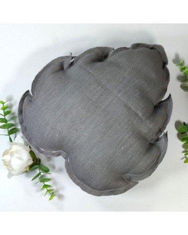 coussin feuille en lin gris