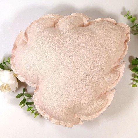 coussin feuille en lin rose pâle