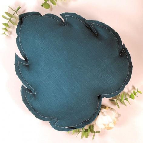 coussin feuille en lin bleu pétrole