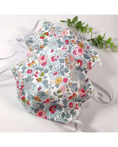 Lot de 2 masques de protection lavable, masque barrière 2 épaisseurs AFNOR, fleurs