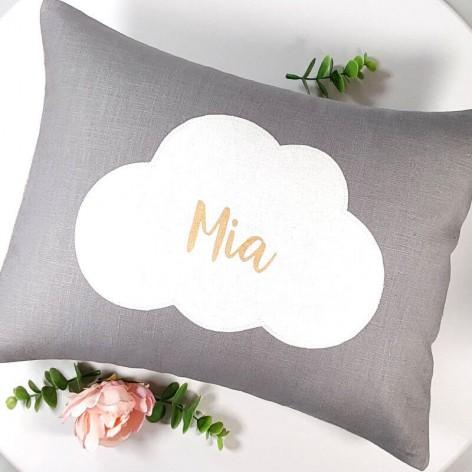 coussin personnalisé bébé, prénom, nuage